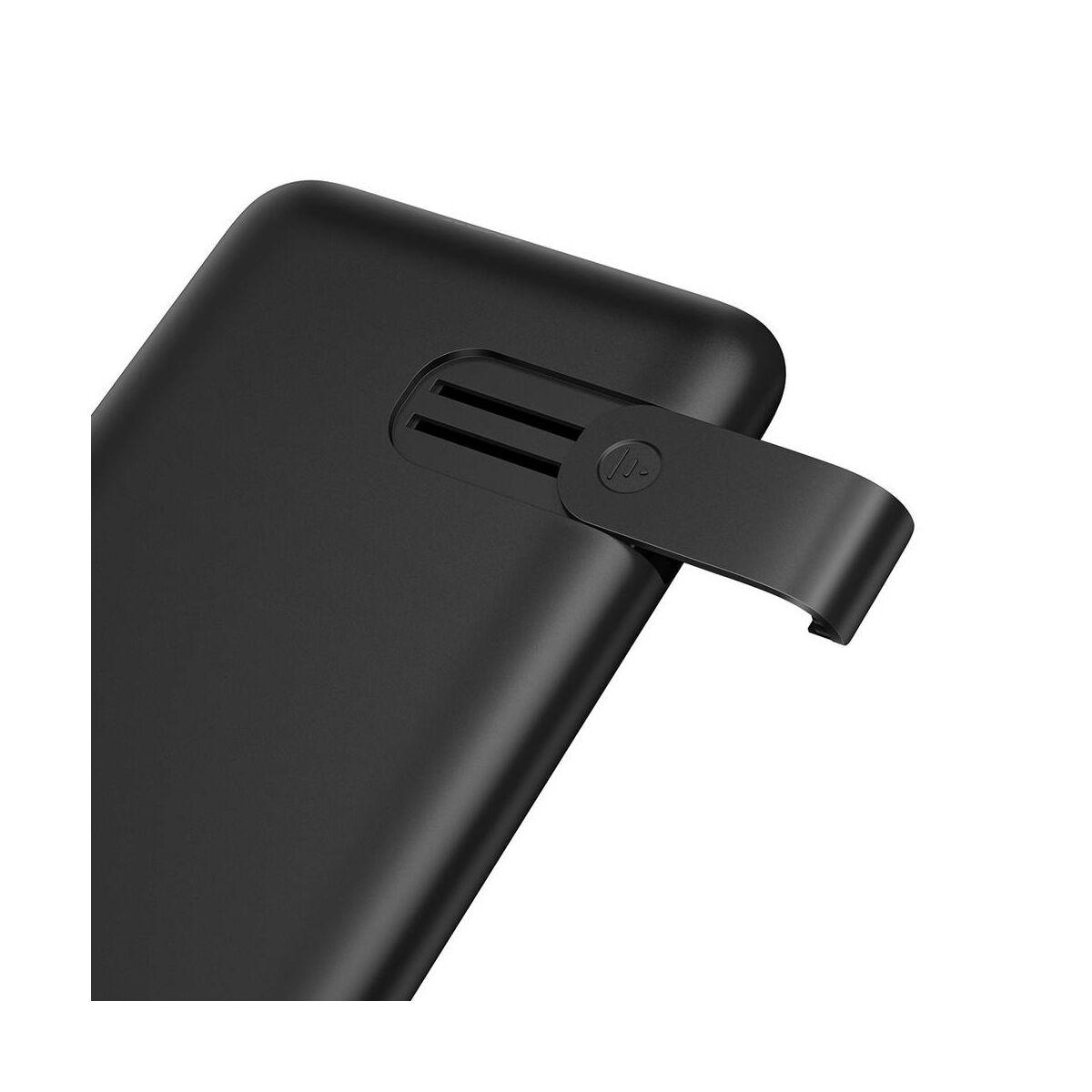Baseus Power Bank vez. nélk. tölt. S10 Bracket (Micro USB + Type-C bem. / 2xUSB + Type-C PD kim.), 18W, 2.4A, 10.000 mAh, fekete (PPS10-01)