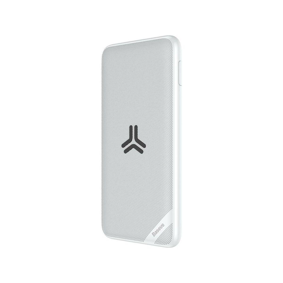 Baseus Power Bank vez. nélk. tölt. S10 Bracket (Micro USB + Type-C bem. / 2xUSB + Type-C PD kim.), 18W, 2.4A, 10.000 mAh, fehér (PPS10-02)