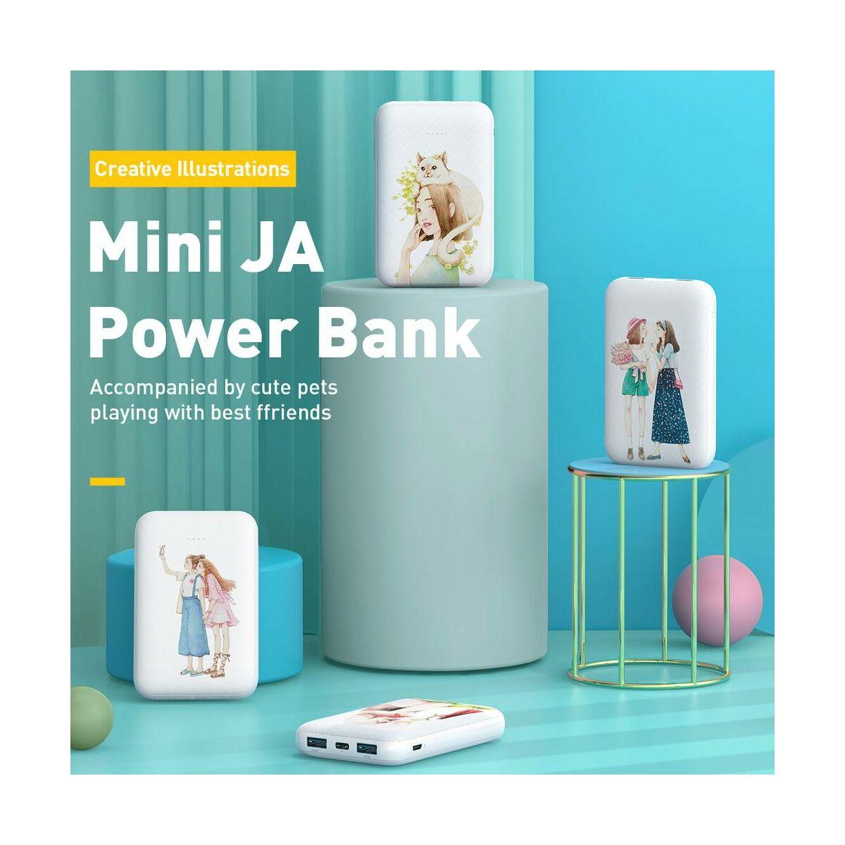 Baseus Power Bank Mini JA, (Micro USB + Type-C bemenet / dupla USB kimenet), 3A, 10.000 mAh macskás, fehér (PPX10-MD02)