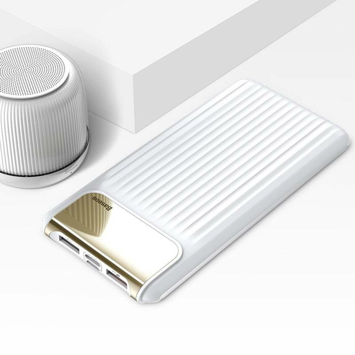 Baseus Power Bank Thin, digitális kijelző, (Type-C + Micro USB bemenet / dupla USB kimenet), 3A, 10.000 mAh, fehér (PPYZ-C02)