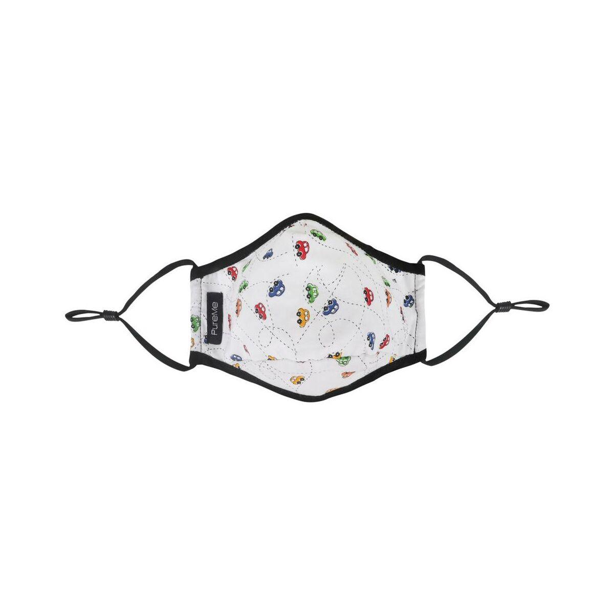 PureMe Maszk, Újrafelhasználható, Állítható füllel, Pamut, 2db N95 szűrővel a csomagban, gyerek méret (4-8 éves korig), autó mintás