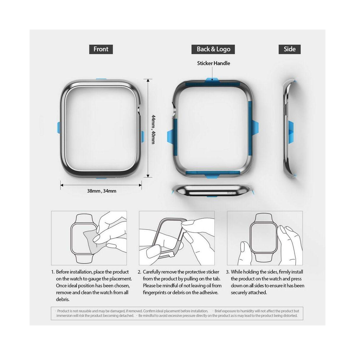 Ringke Apple Watch óraház védő rozsdamentes acél keret, Bezel Styling 38 mm - AW3-38-02 (Stainless Steel), rózsaszín