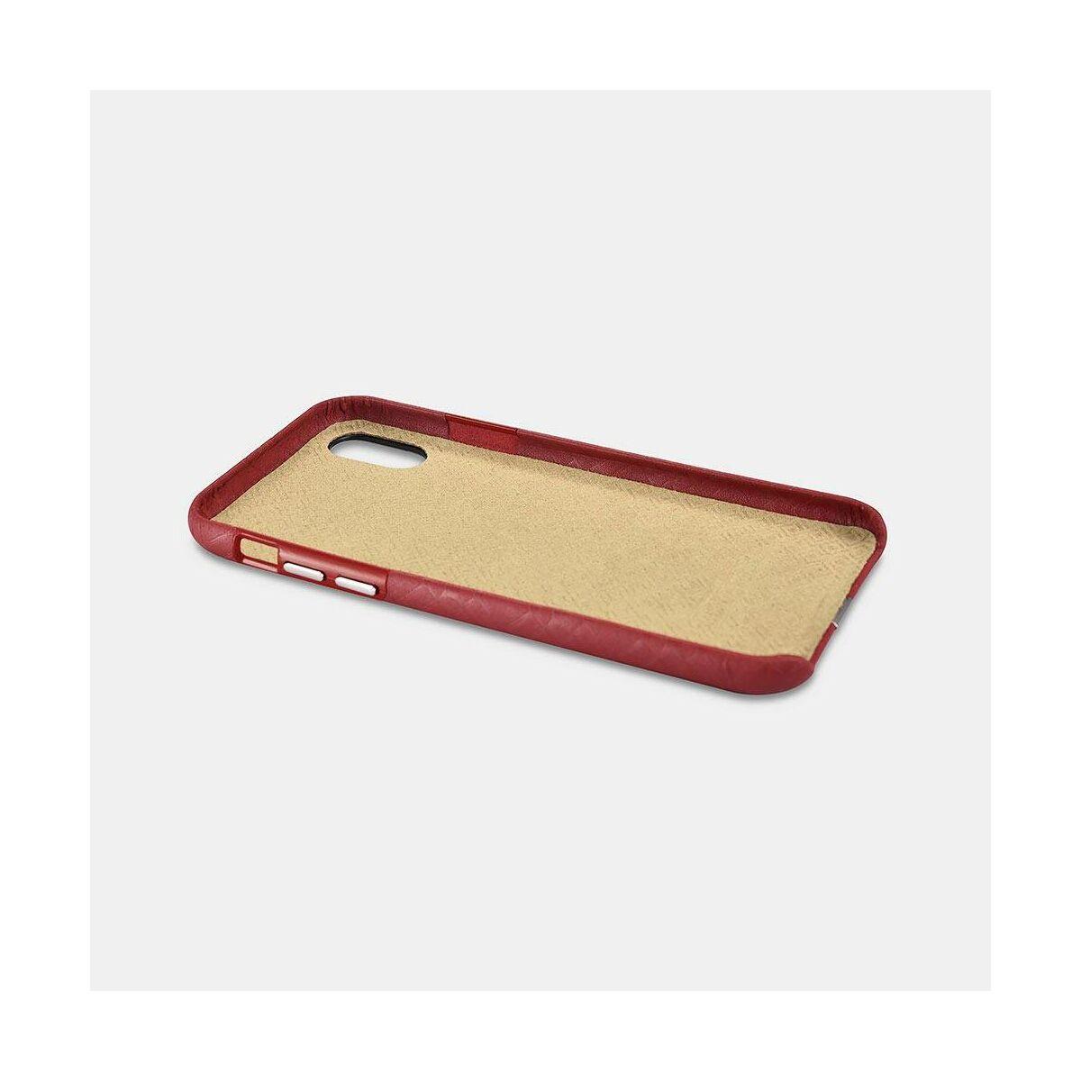 iCarer iPhone X/XS Tok, Valódi Bőr, Luxury sorozat, mintás piros