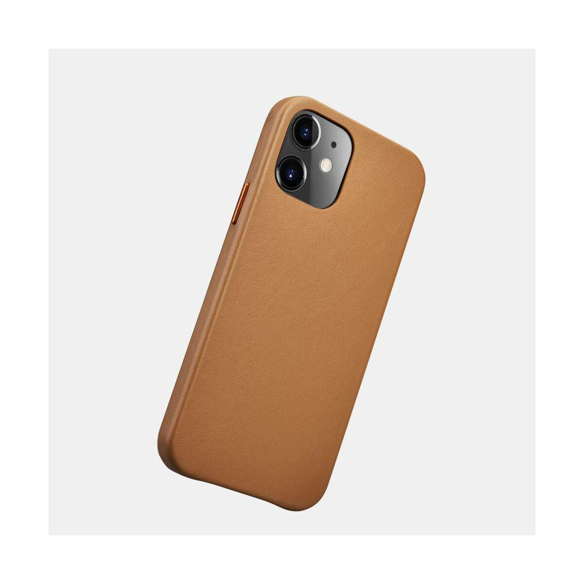 iCarer iPhone 12 /12 Pro (6.1) tok, Eredeti valódi bőr, barna