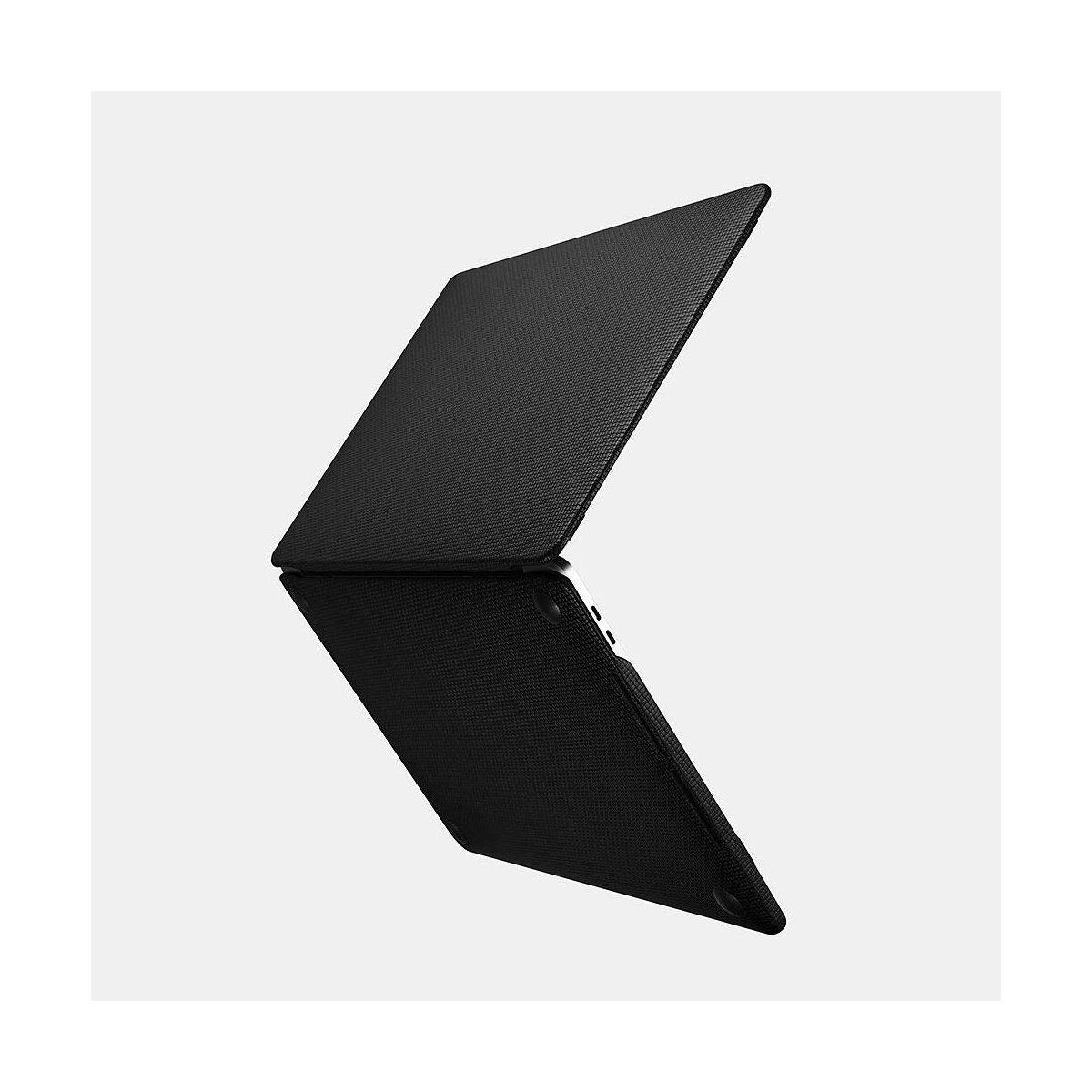 iCarer Apple Macbook Pro 15 Tok, Valódi Bőr (szőtt mintás), fekete