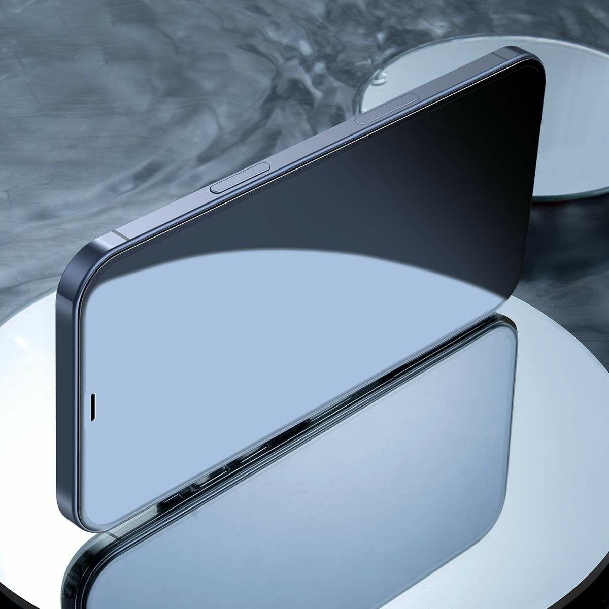 Baseus iPhone 12 mini 0.3 mm, teljes felületre, lekerekített edzett üveg, kékfény szűrős (2 db), fekete (SGAPIPH54N-KB01)