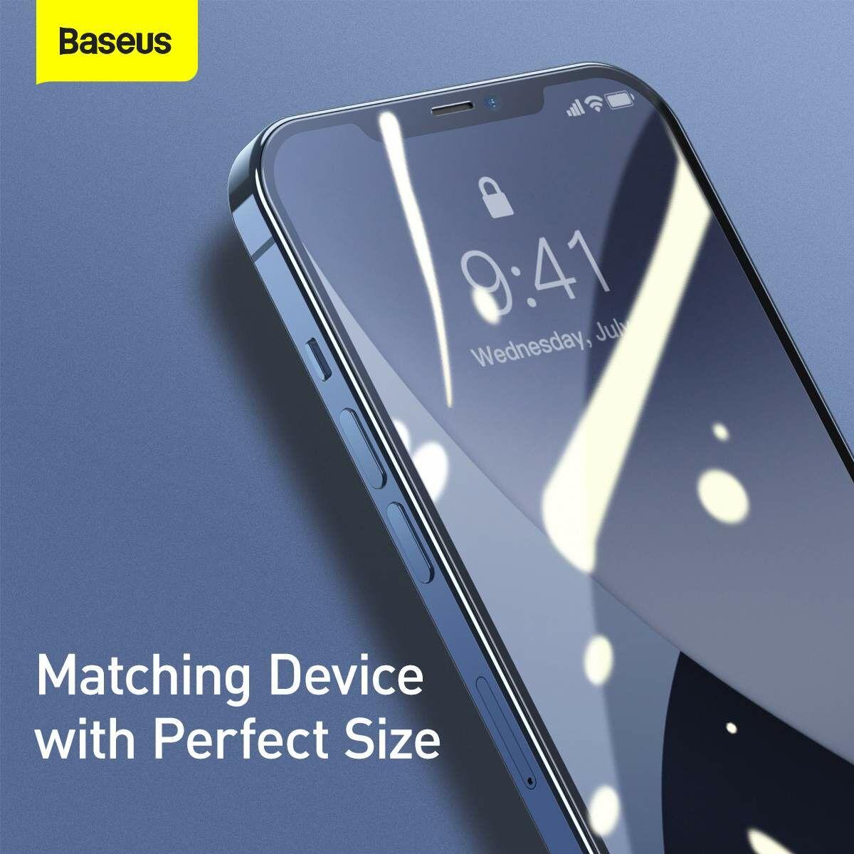 Baseus iPhone 12 mini 0.25 mm, teljes felületre, edzett üveg (2 db), fekete (SGAPIPH54N-KC01)