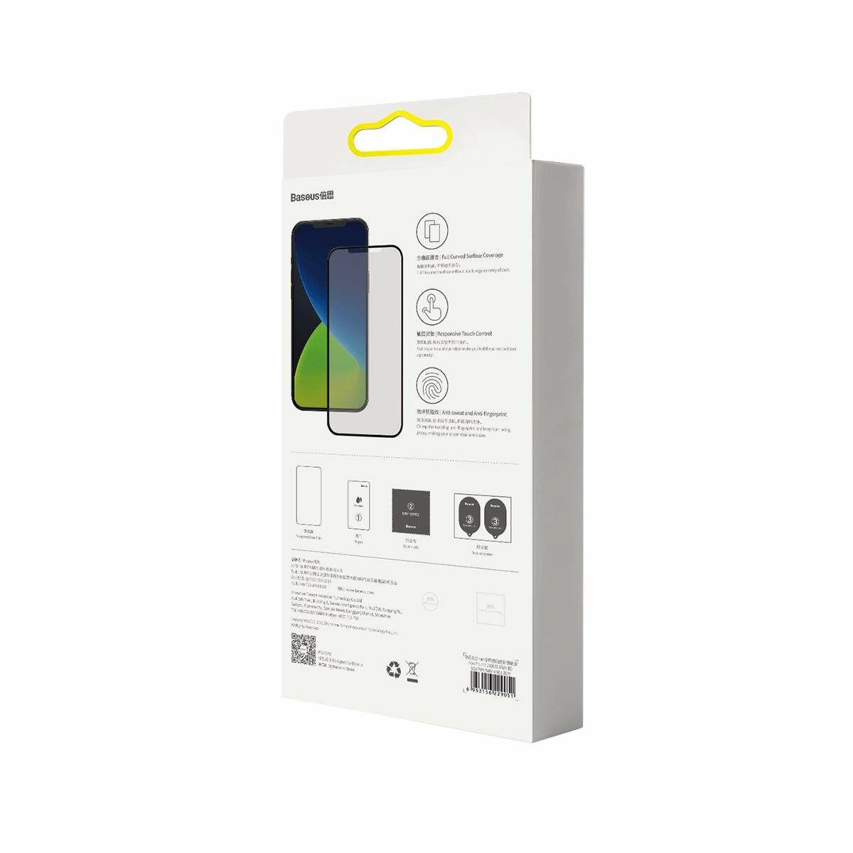 Baseus iPhone 12 mini 0.25 mm, teljes felületre, lekerekített matt edzett üveg (2 db), fekete (SGAPIPH54N-KC01)