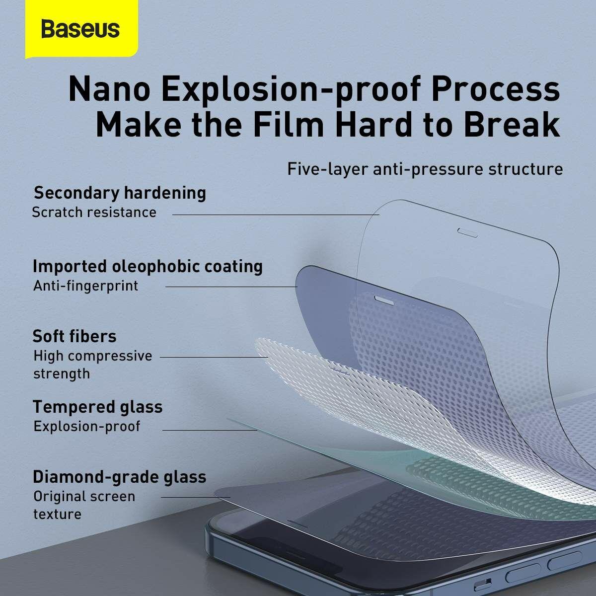 Baseus iPhone 12 mini 0.3 mm, teljes felületre, edzett üveg (2db), fehér (SGAPIPH54N-LS02)