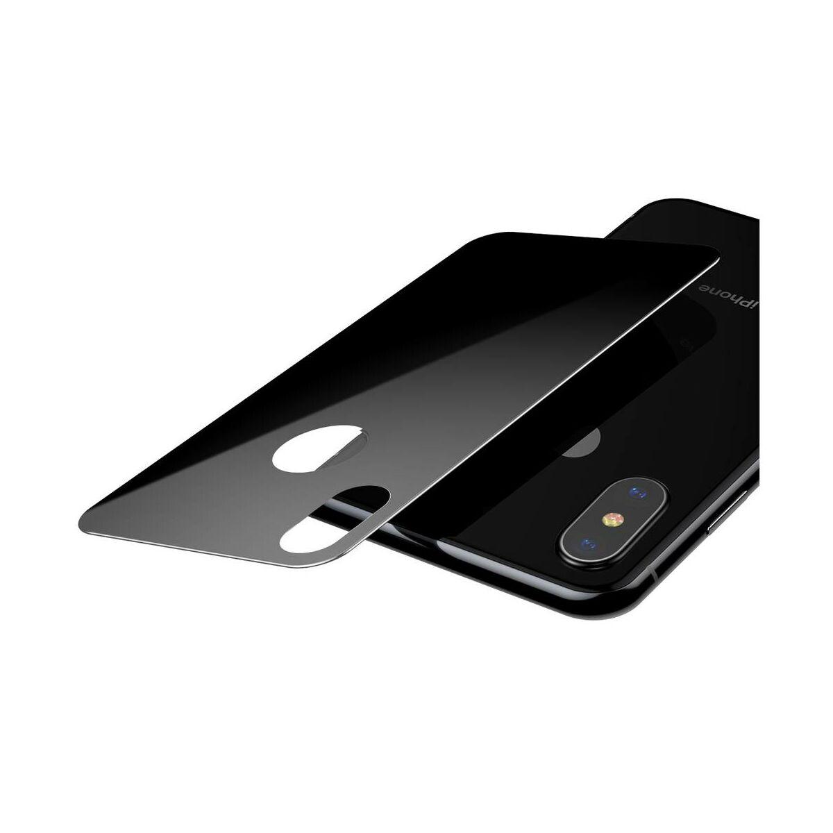 """Baseus iPhone XS (5.8"""") 0.3 mm, teljes lefedésre edzett üveg hátlap védő fólia, fekete (SGAPIPH58-BM01)"""