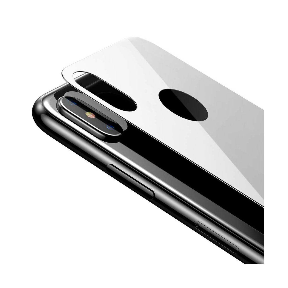"""Baseus iPhone XS (5.8"""") 0.3 mm, teljes lefedésre edzett üveg hátlap védő fólia, fehér (SGAPIPH58-BM02)"""