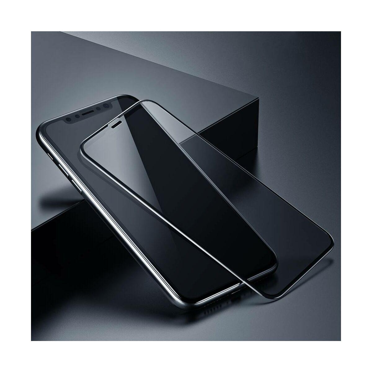 """Baseus iPhone XS (5.8"""") 0.23 mm, teljes felületre, törés álló szélek, betekintés védelem, edzett üveg, fekete (SGAPIPH58-CTG01)"""