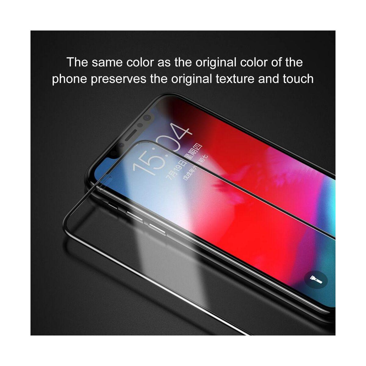 """Baseus iPhone XS (5.8"""") 0.3 mm, kijelzővédő üvegfólia (előlap + hátlap), fekete (SGAPIPH58-TZ01)"""