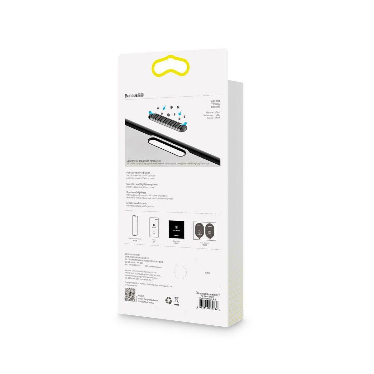 """Baseus iPhone XS (5.8"""") 0.23 mm, teljes felületre lekerekített edzett üveg por elleni védelem, fekete (SGAPIPH58-WA01)"""