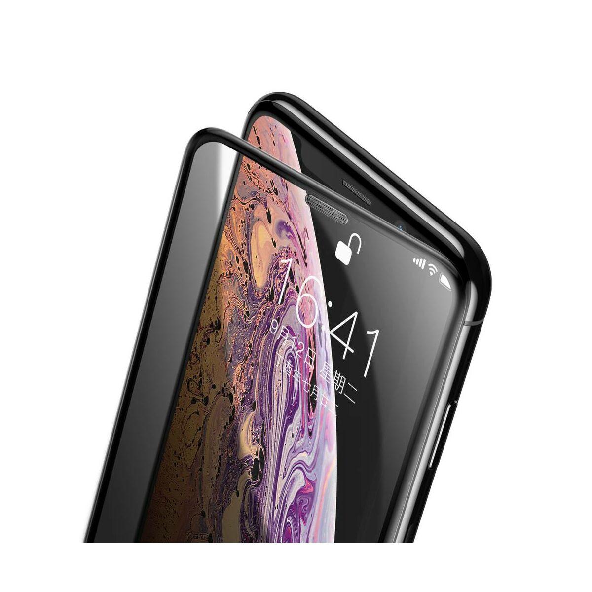 """Baseus iPhone XS (5.8"""") 0.23 mm, teljes felületre lekerekített edzett üveg Anti-Spy, por elleni védelem, fekete (SGAPIPH58-WC01)"""