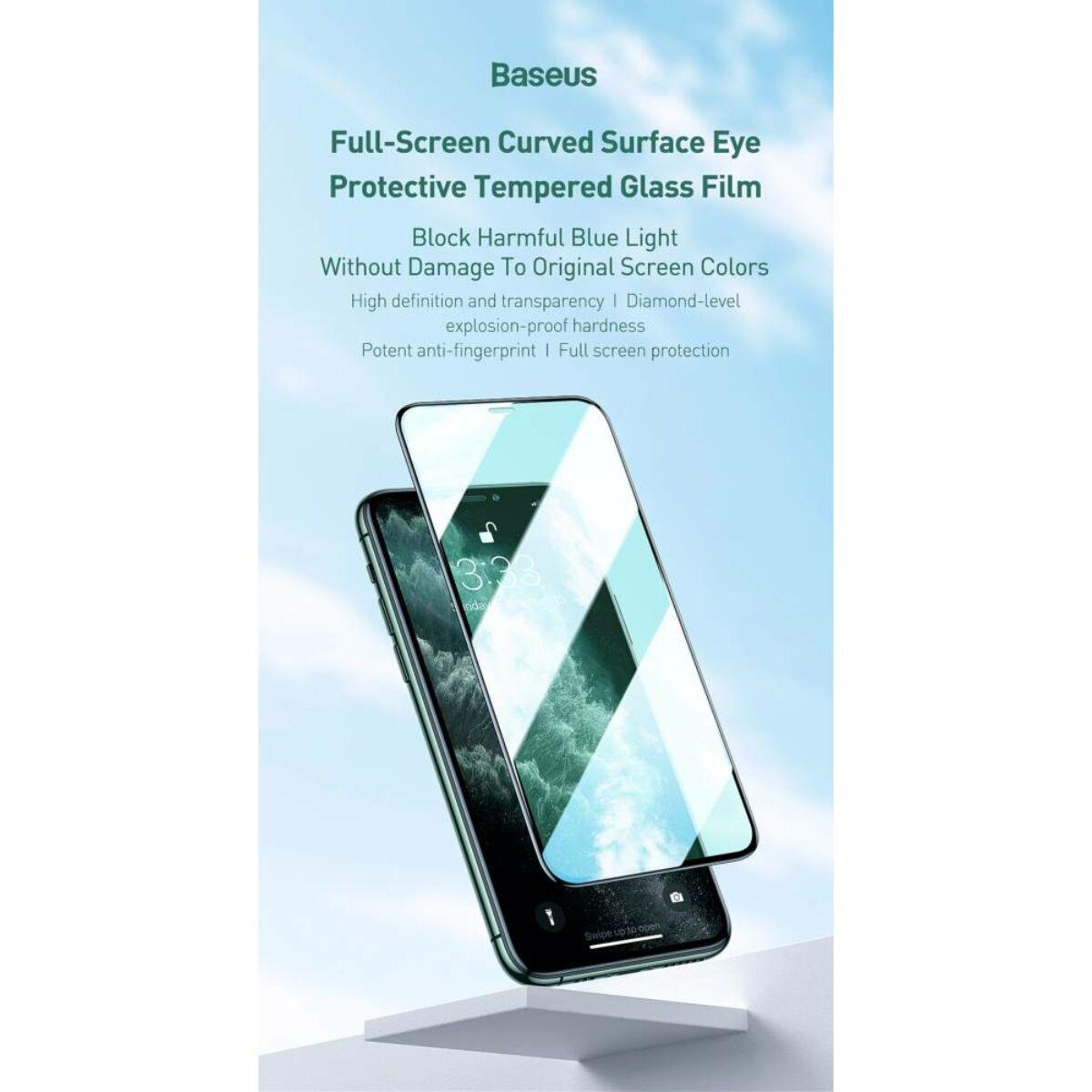 Baseus iPhone 11 Pro 0.3mm, teljes felületre, lekerekített, ívelt edzett üveg, szem kímélő felület (2db+keret), fekete (SGAPIPH58S-IA0)