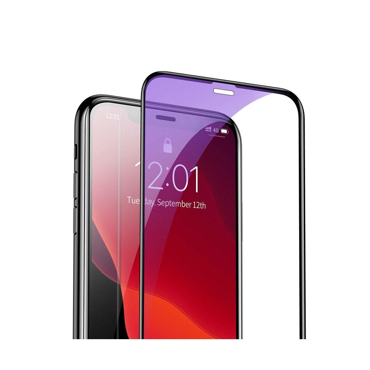 """Baseus iPhone 11 Pro (5.8"""") 0.3 mm, teljes felületre, kékfény szűrős (2db a csomagban) edzett üveg, fekete (SGAPIPH58S-KD01)"""