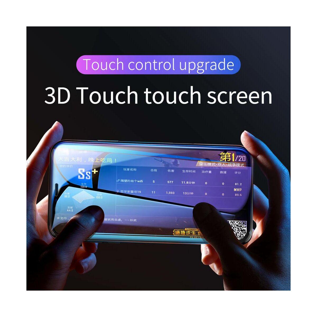 """Baseus iPhone XR/ 11 (6.1"""") 0.3 mm, Rigid-lekerekített, teljes felületre, edzett üveg kijelzővédő fólia, fekete (SGAPIPH61-AJG01)"""