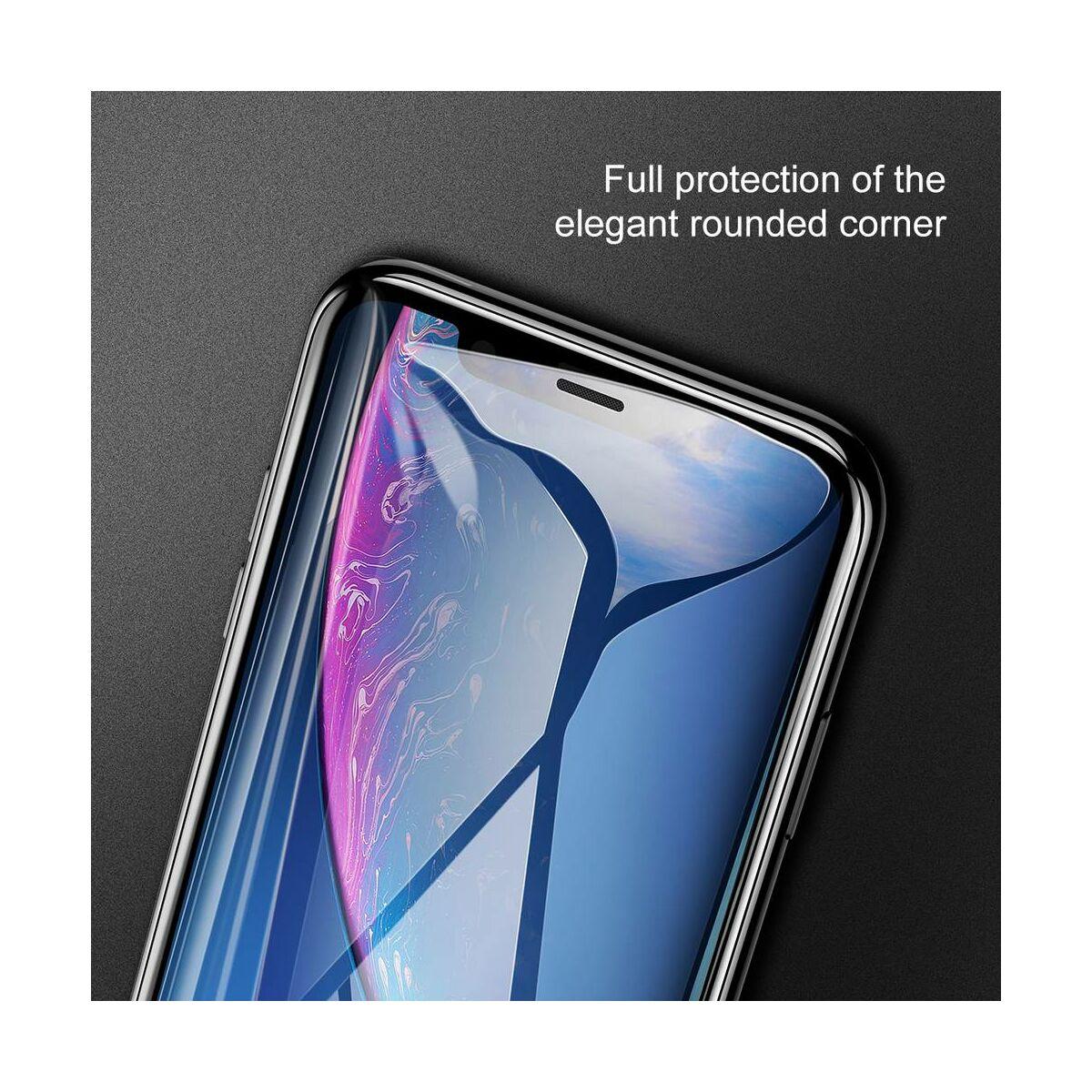 """Baseus iPhone XR/ 11 (6.1"""") 0.3 mm, teljes felületre edzett üveg kijelzővédő fólia, fekete (SGAPIPH61-KC01)"""