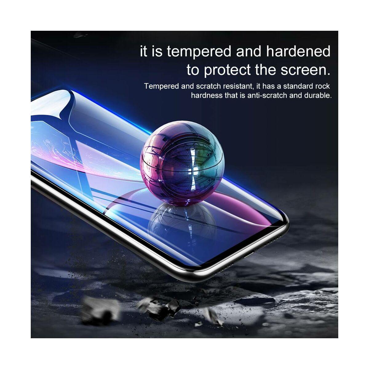 """Baseus iPhone XR/ 11 (6.1"""") 0.23 mm, teljes felületre, repedésálló kékfény szűrős edzett üveg kijelzővédő fólia, fekete (SGAPIPH61-TE01)"""