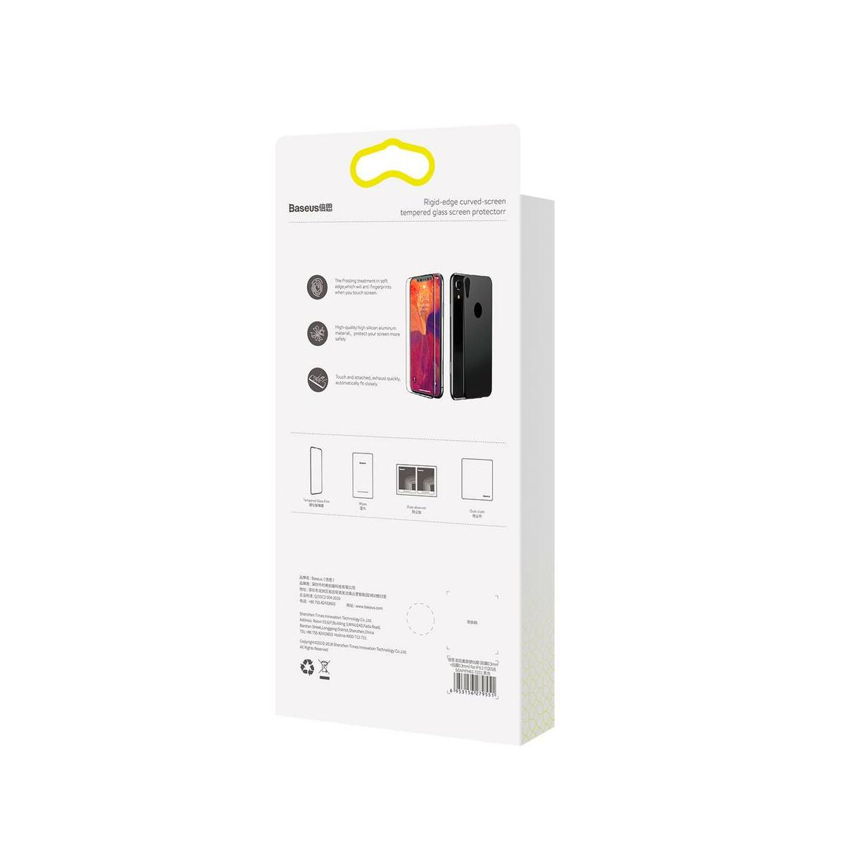 """Baseus iPhone XR/ 11 (6.1"""") 0.3 mm, kijelzővédő üveg fólia (előlap + hátlap), fekete (SGAPIPH61-TZ01)"""