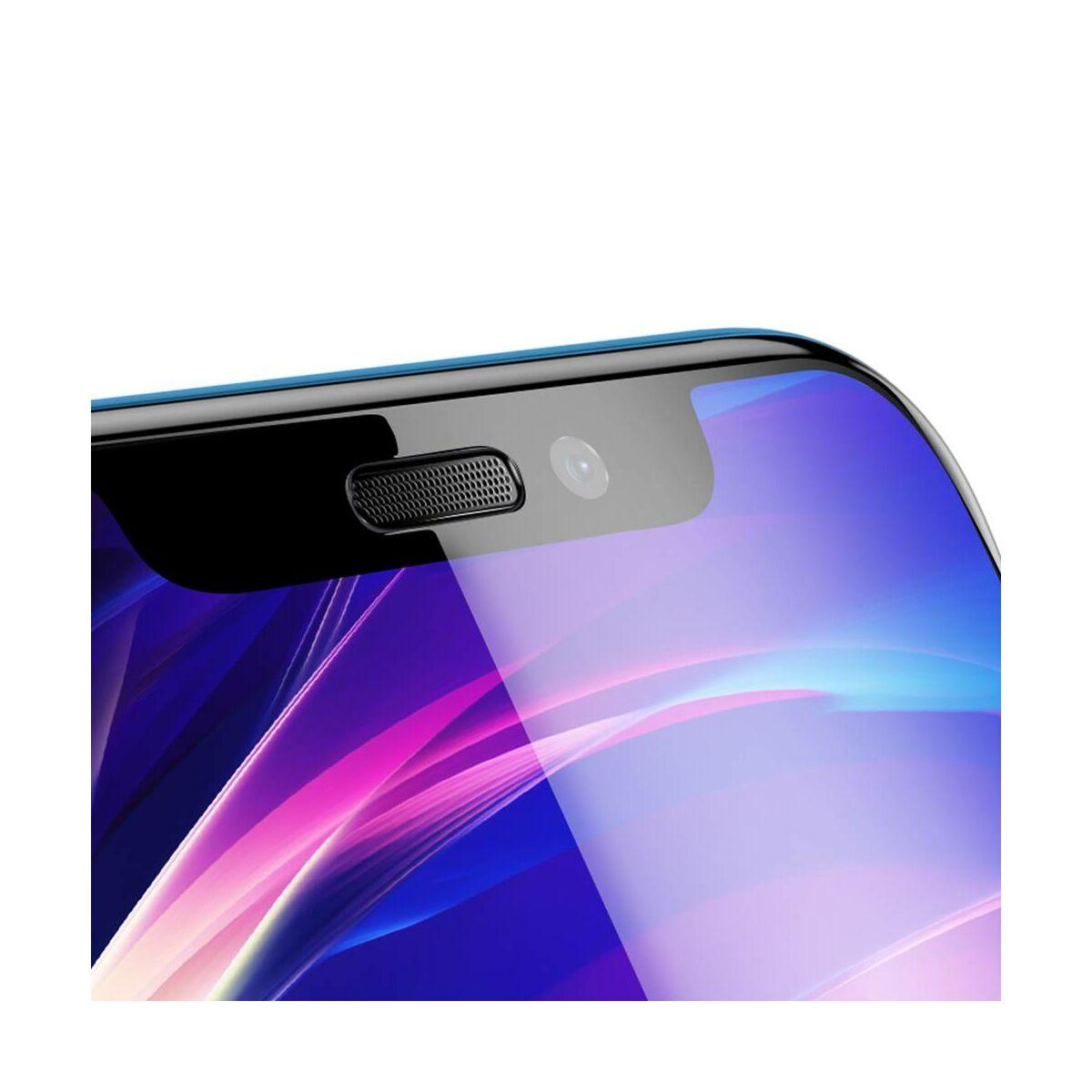 """Baseus iPhone XR/ 11 (6.1"""") 0.23 mm, teljes felületre lekerekített edzett üveg, por elleni védelem, fekete (SGAPIPH61-WA01)"""