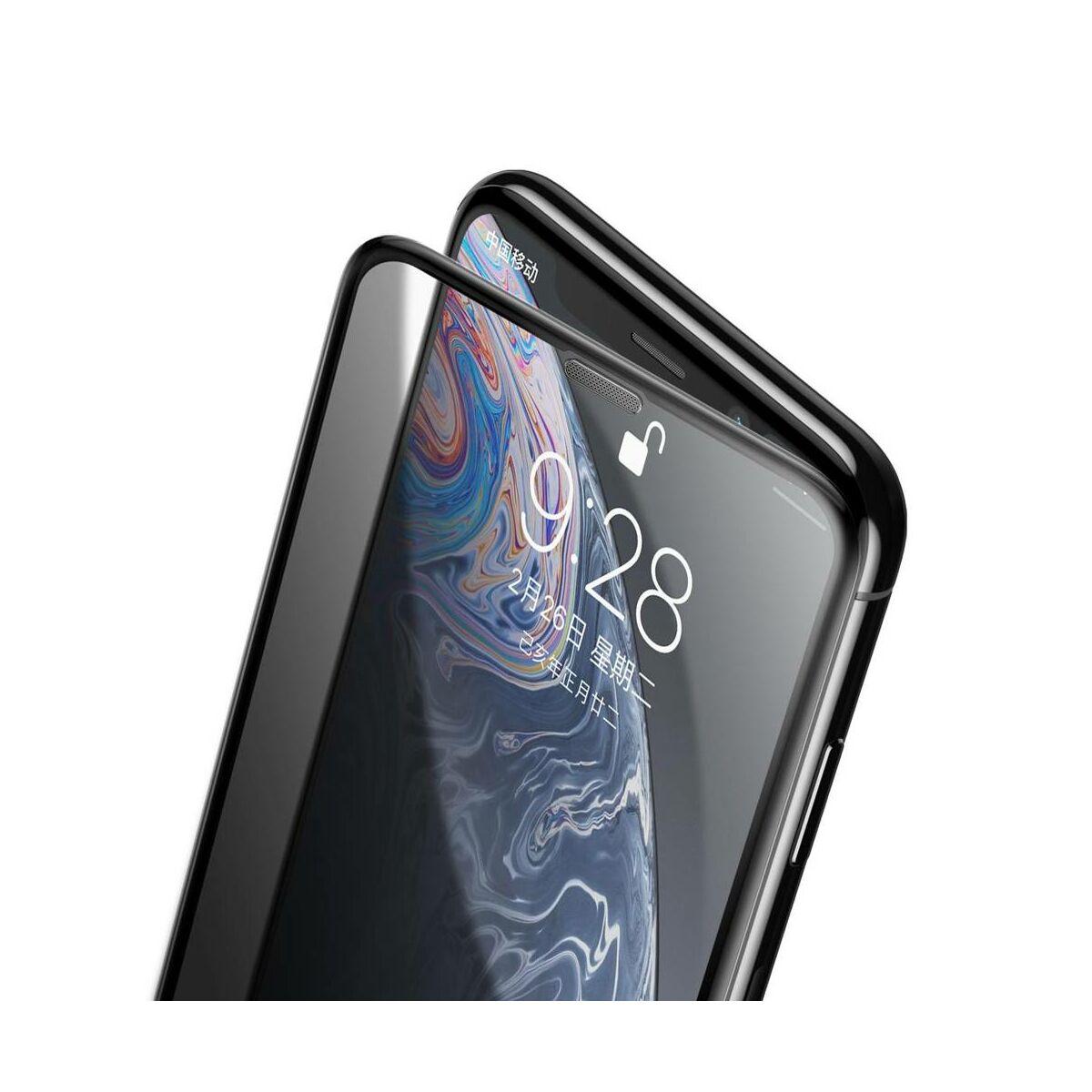 """Baseus iPhone XR/ 11 (6.1"""") 0.23 mm, teljes felületre lekerekített edzett üveg Anti-Spy, por elleni védelem, fekete (SGAPIPH61-WC01)"""