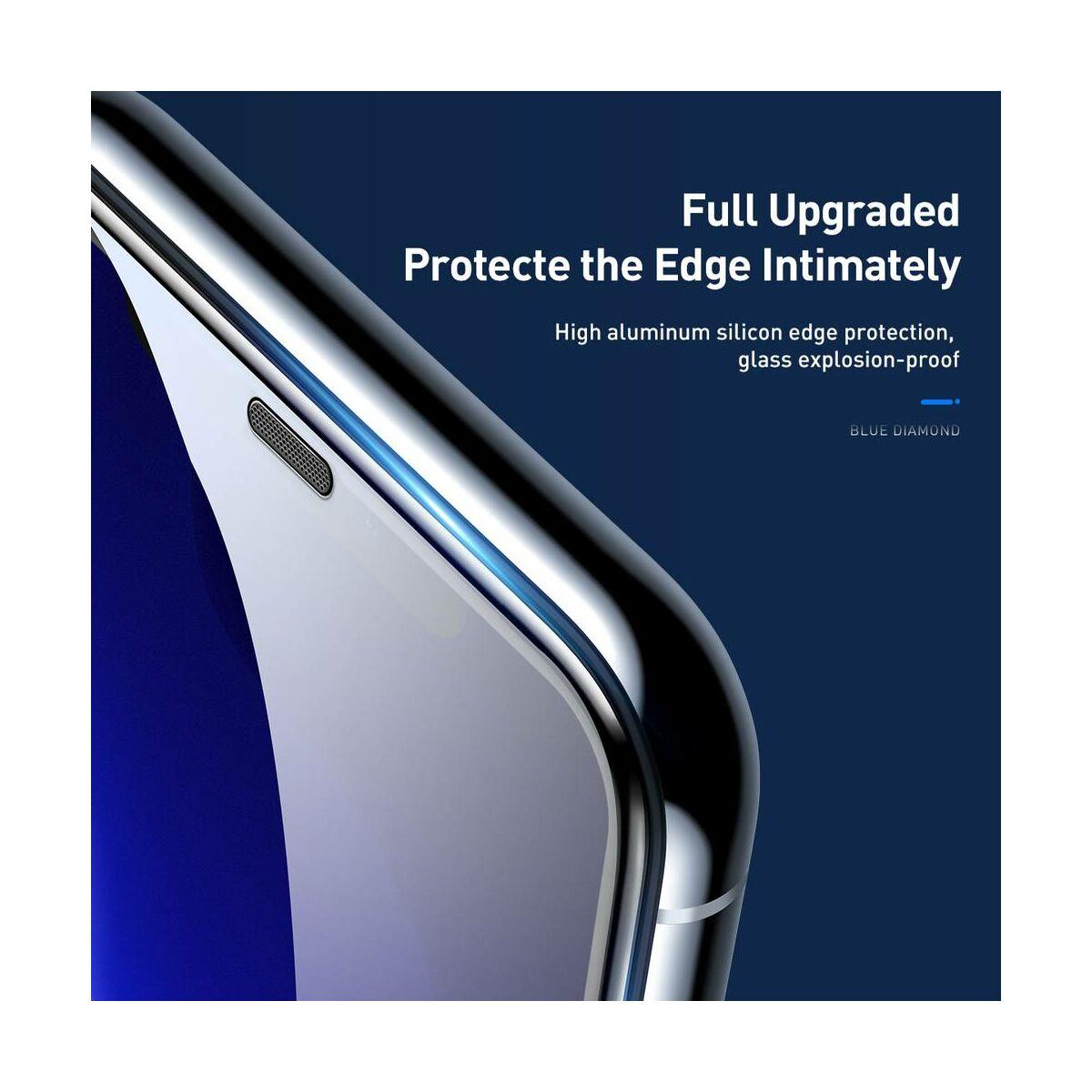 """Baseus iPhone XR/ 11 (6.1"""") 0.23 mm, teljes felületre, ívelt szélek, por elleni védelem, edzett üveg, fekete (SGAPIPH61-WD01)"""