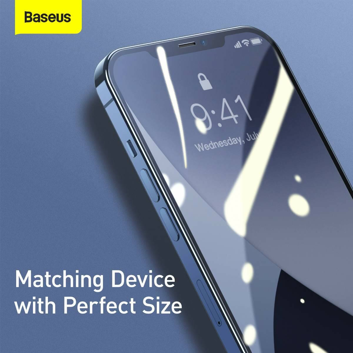 Baseus iPhone 12/12 Pro 0.25 mm, teljes fefületre, edzett üveg (2db), fekete (SGAPIPH61P-KC01)