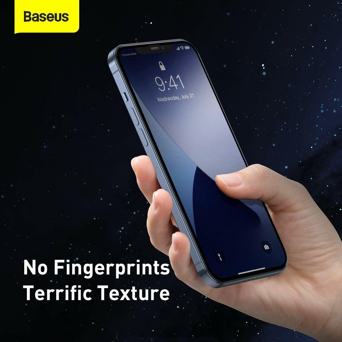 Baseus iPhone 12/12 Pro 0.25 mm, teljes felületre, lekerekített matt edzett üveg, (2db), fekete (SGAPIPH61P-KM01)