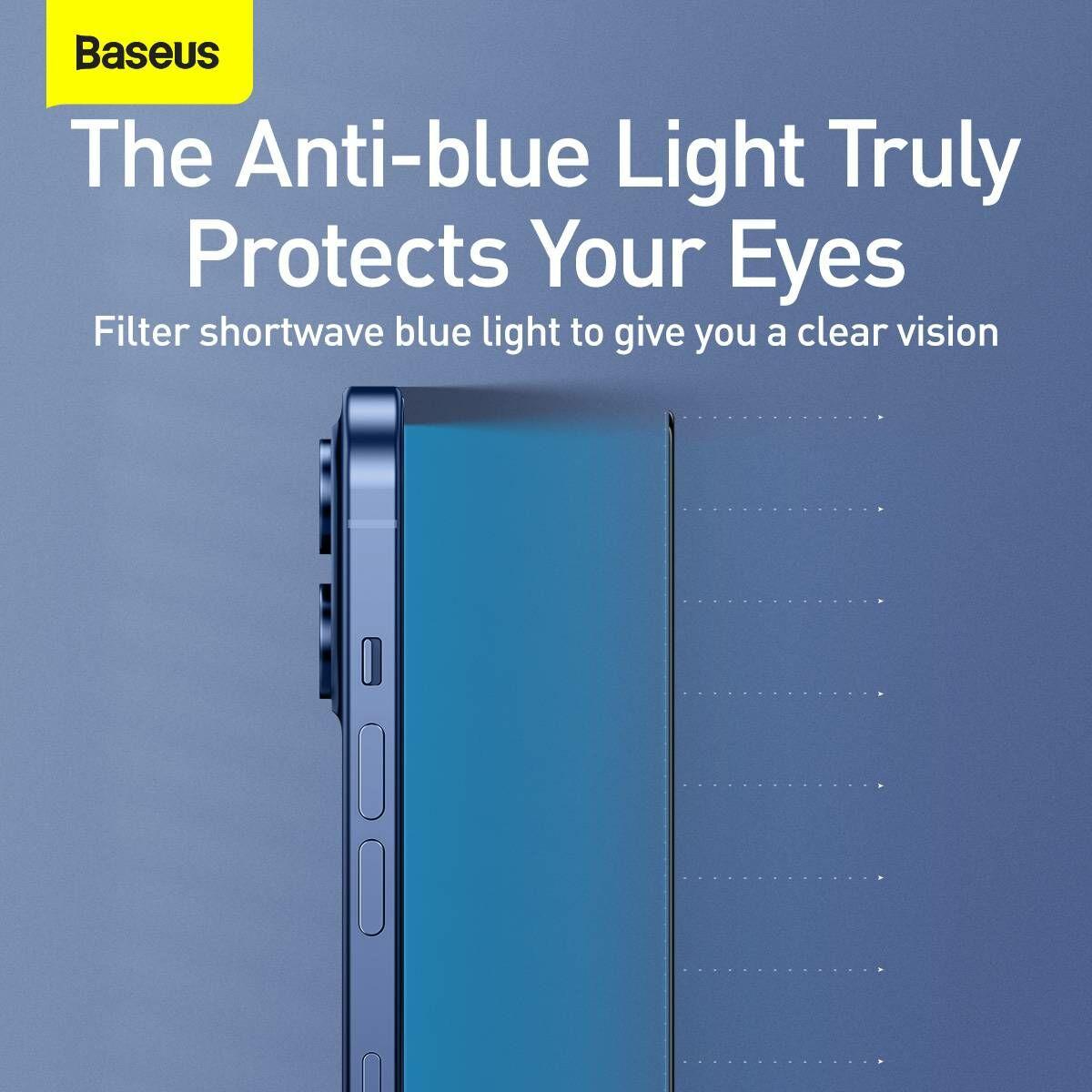 Baseus iPhone 12/12 Pro 0.3 mm, teljes felületre, edzett üveg, kékfény szűrős, (2db + keret), fekete (SGAPIPH61P-KP01)
