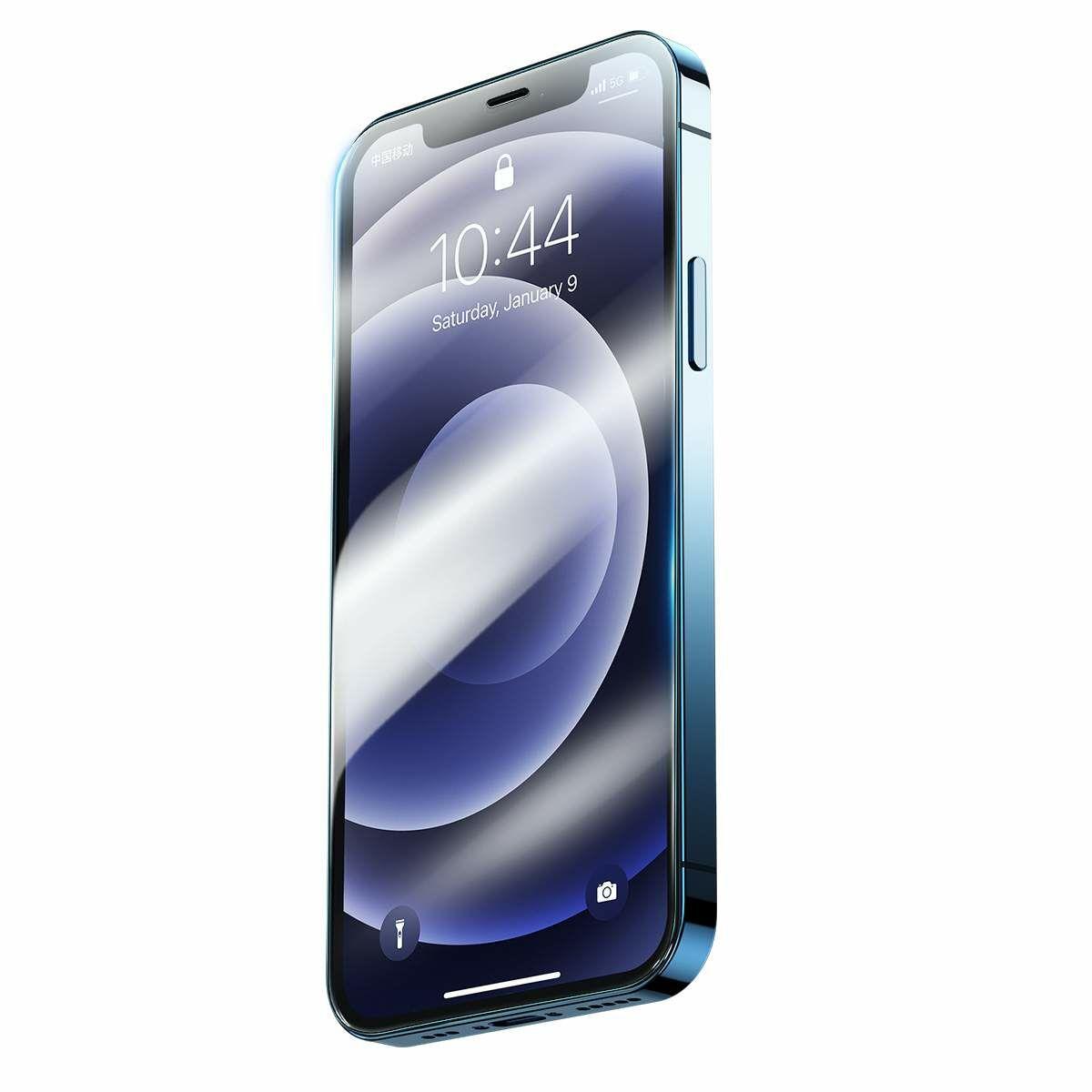 Baseus iPhone 12/12 Pro 0.3 mm, teljes felületre Super porcelán kristály Edzett üvegfólia (2db/doboz) átlátszó (SGAPIPH61P-LI02)