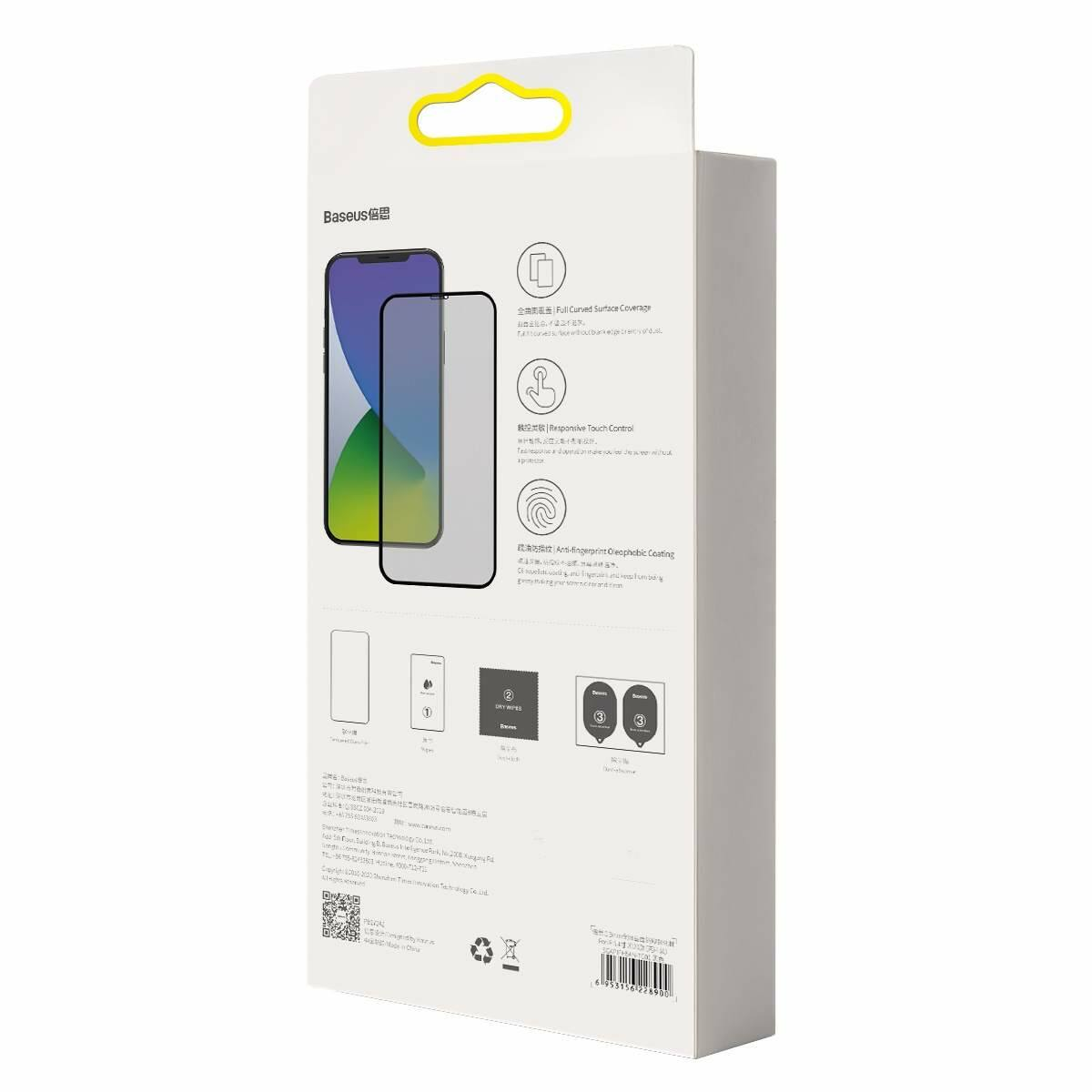 Baseus iPhone 12/ 12 Pro 0.3 mm, teljes felületre lekerekített edzett üveg, betekintés védelem (2db), fekete (SGAPIPH61P-TG01)