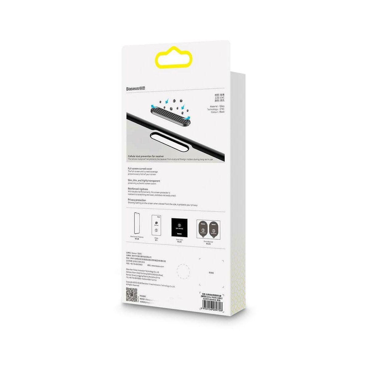 """Baseus iPhone 11 (6.1"""") 0.23 mm, teljes felületre lekerekített edzett üveg Anti-Spy, por elleni védelem, fekete (SGAPIPH61S-WC01)"""