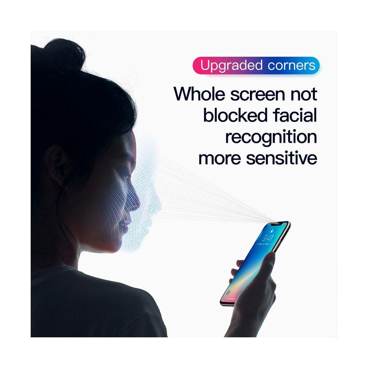 """Baseus iPhone XS Max (6.5"""") 0.3 mm, Rigid-lekerekített, teljes felületre, edzett üveg kijelzővédő fólia, fekete (SGAPIPH65-AJG01)"""