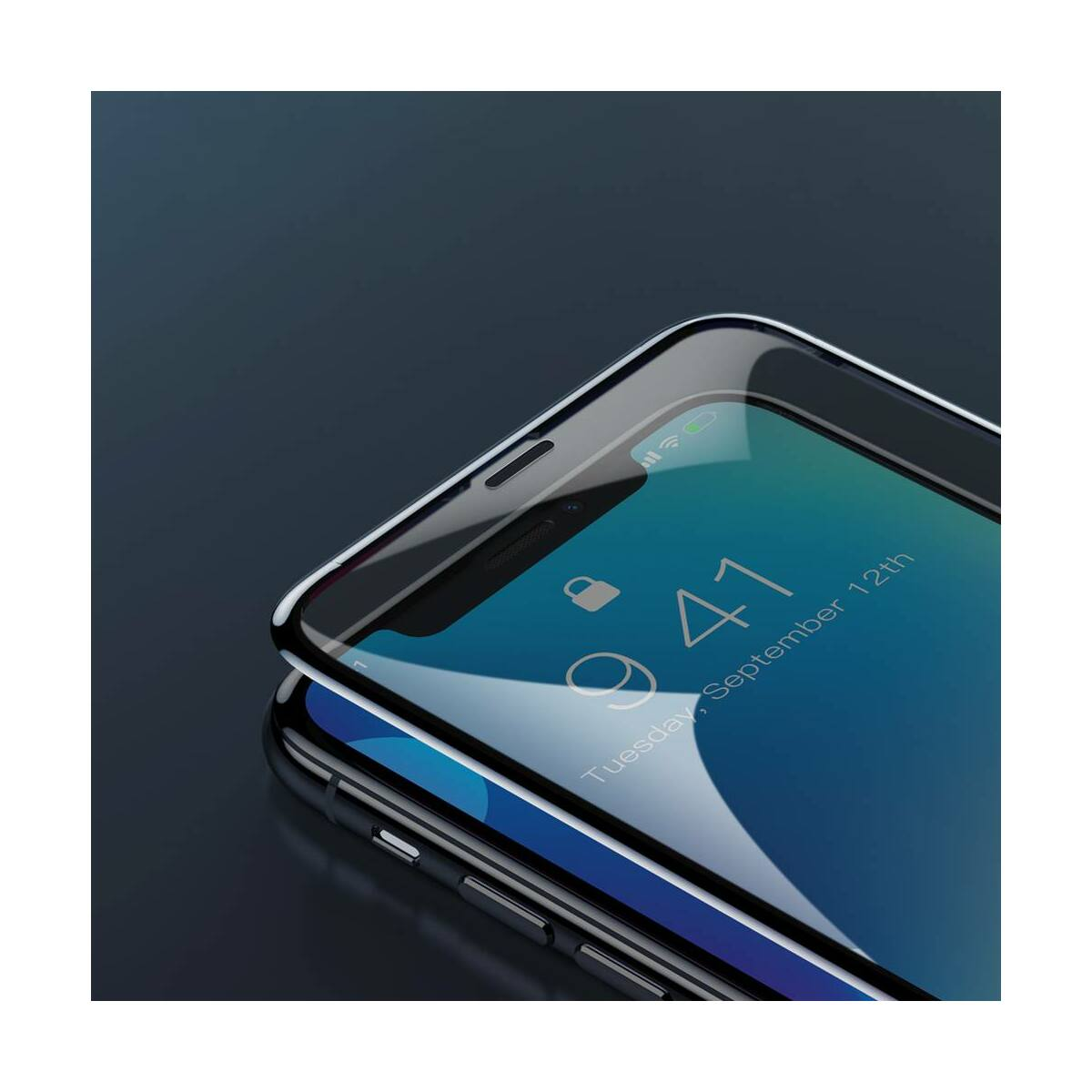 """Baseus iPhone XS Max (6.5"""") 0.3 mm, Rigid-lekerekített, teljes felületre, Anti-Spy edzett üveg kijelzővédő fólia, fekete (SGAPIPH65-ATG01)"""