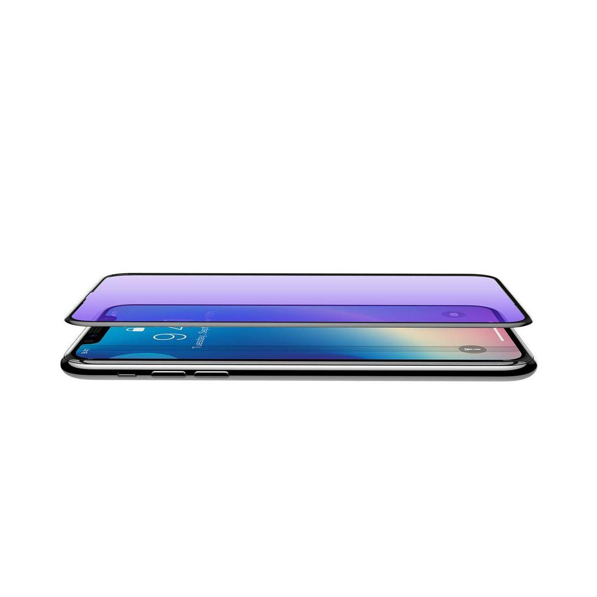 """Baseus iPhone XS Max (6.5"""") 0.3 mm, Rigid-lekerekített, teljes felületre, edzett üveg kijelzővédő fólia, fekete (SGAPIPH65-BJG01)"""