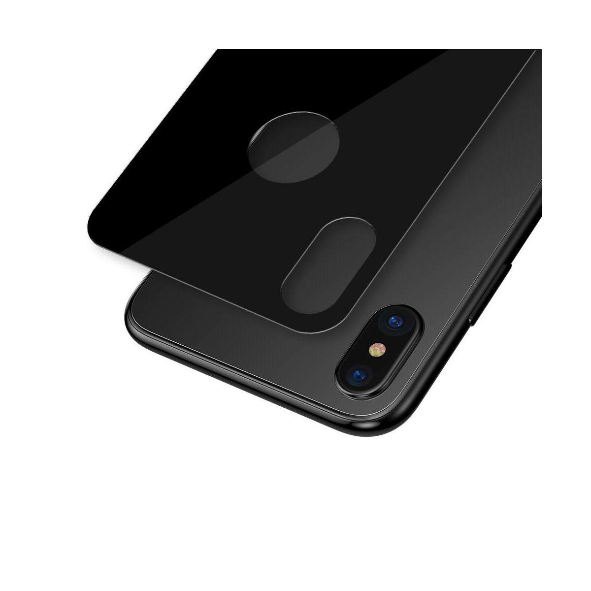 """Baseus iPhone XS Max (6.5"""") 0.3 mm, teljes lefedésre, edzett üveg hátlap védő fólia, fekete (SGAPIPH65-BM01)"""