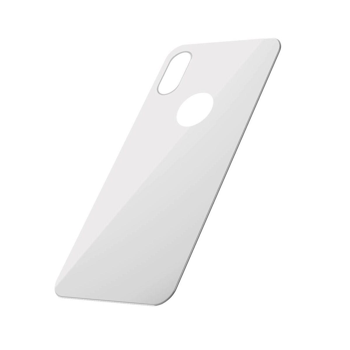 """Baseus iPhone XS Max (6.5"""") 0.3 mm, teljes lefedésre, edzett üveg hátlap védő fólia, fehér (SGAPIPH65-BM02)"""