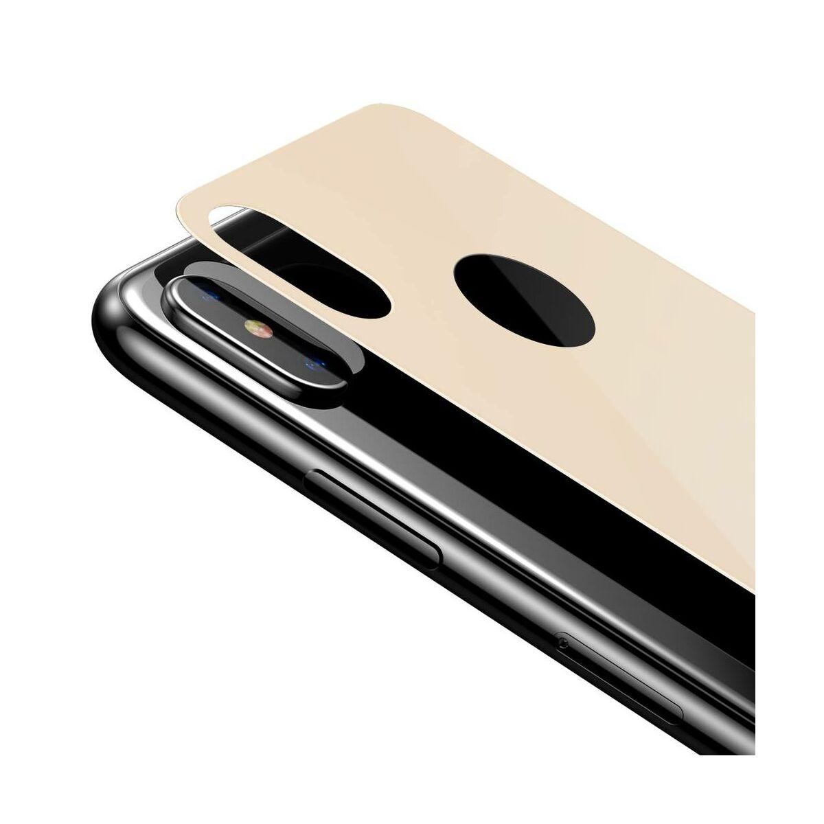 """Baseus iPhone XS Max (6.5"""") 0.3 mm, teljes lefedésre, edzett üveg hátlap védő fólia, arany (SGAPIPH65-BM0V)"""