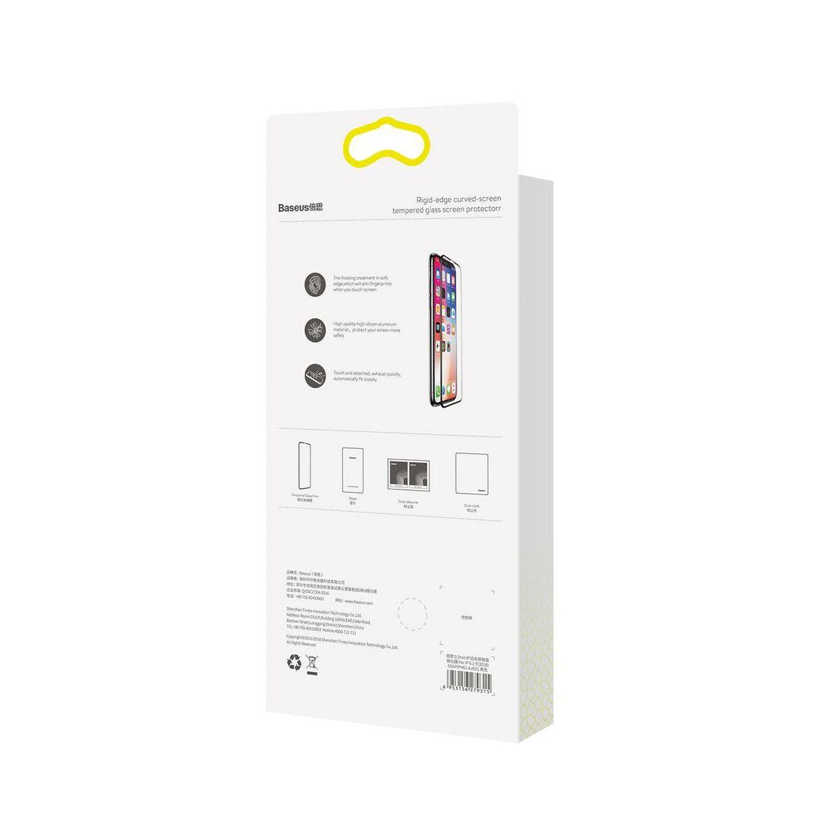 """Baseus iPhone XS Max (6.5"""") 0.2 mm, teljes felületre kékfény szűrős edzett üveg kijelzővédő fólia, fekete (SGAPIPH65-HE01)"""