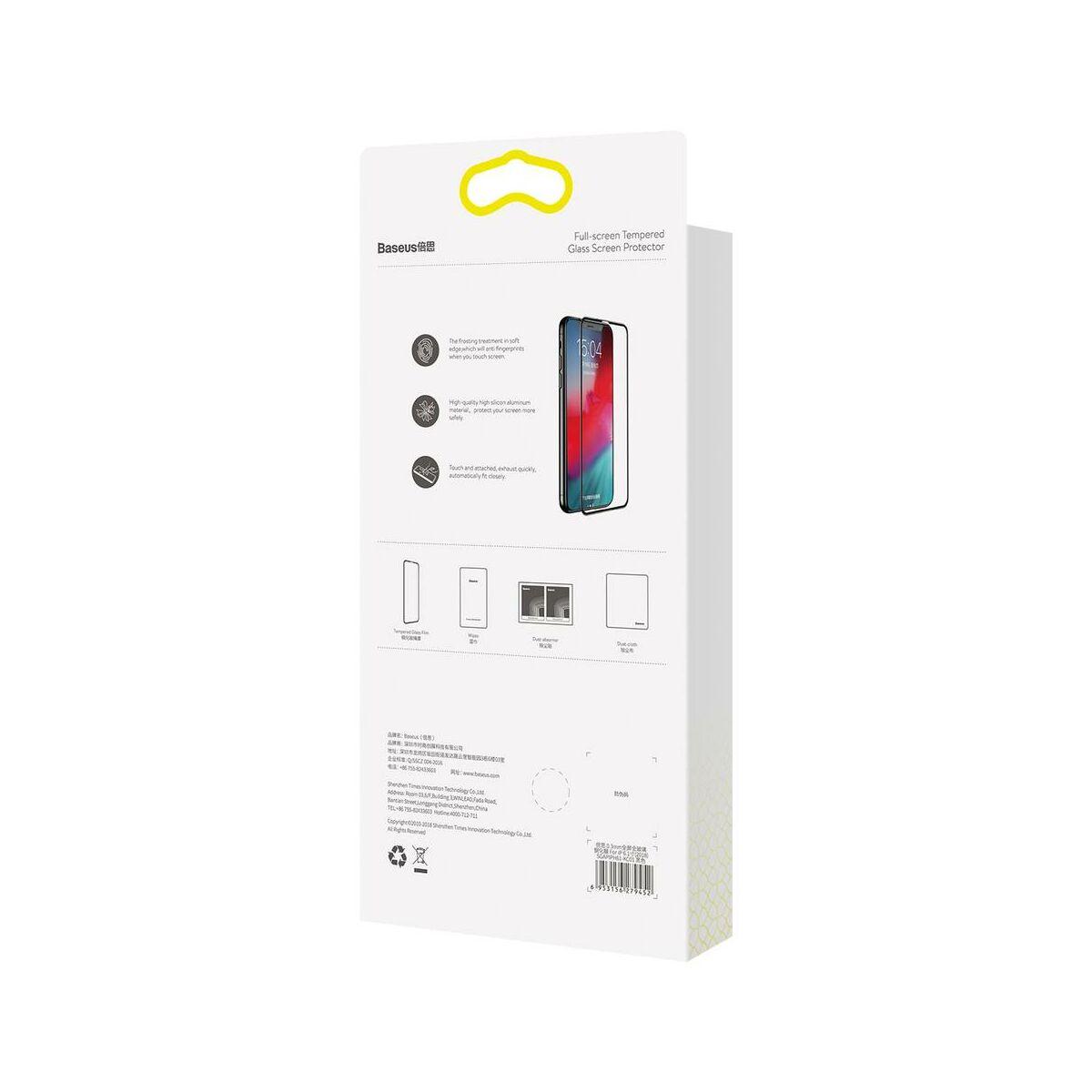 """Baseus iPhone XS Max (6.5"""") 0.3 mm, teljes felületre edzett üveg kijelzővédő fólia, fekete (SGAPIPH65-KC01)"""