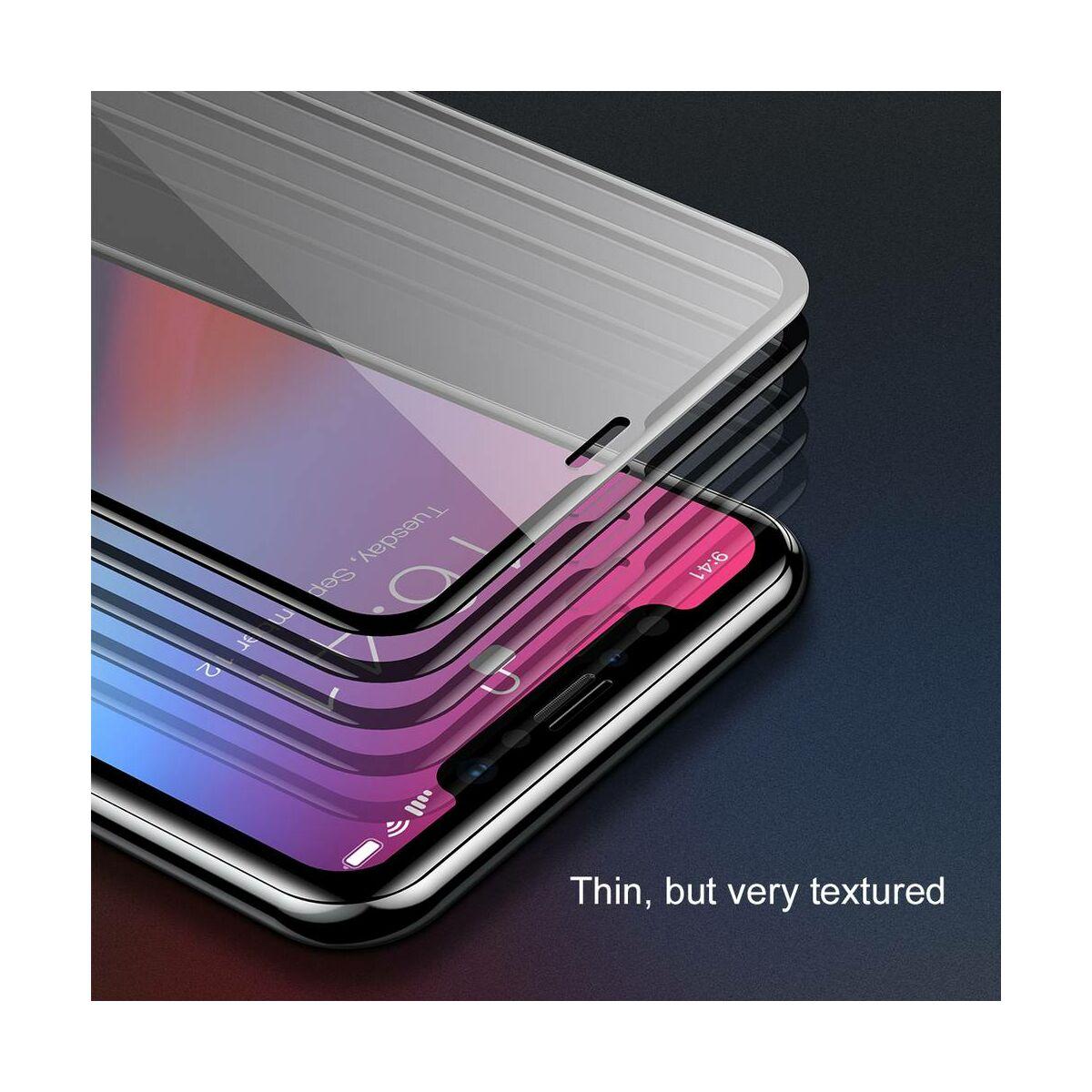"""Baseus iPhone XS Max (6.5"""") 0.2 mm, teljes felületre edzett üveg kijelzővédő fólia, fekete (SGAPIPH65-TN01)"""