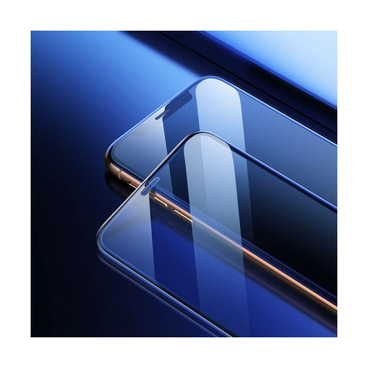 """Baseus iPhone XS Max (6.5"""") 0.23 mm, teljes felületre lekerekített edzett üveg, por elleni védelem fekete (SGAPIPH65-WA01)"""