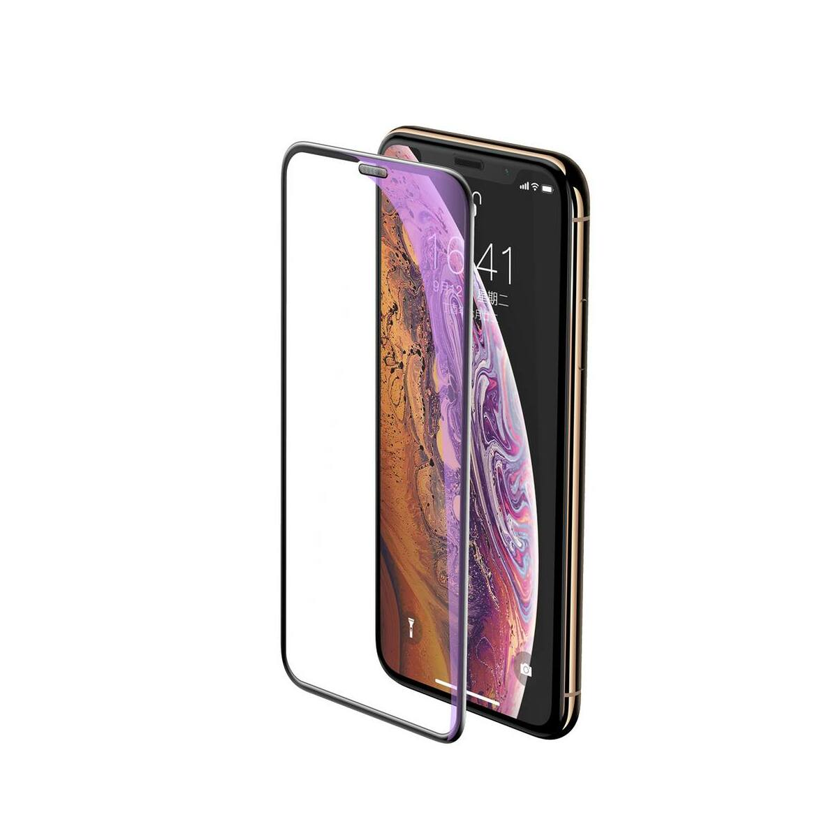 """Baseus iPhone XS Max (6.5"""") 0.23 mm, teljes felületre lekerekített edzett üveg kékfény szűrős, por elleni védelem, fekete (SGAPIPH65-WB01)"""