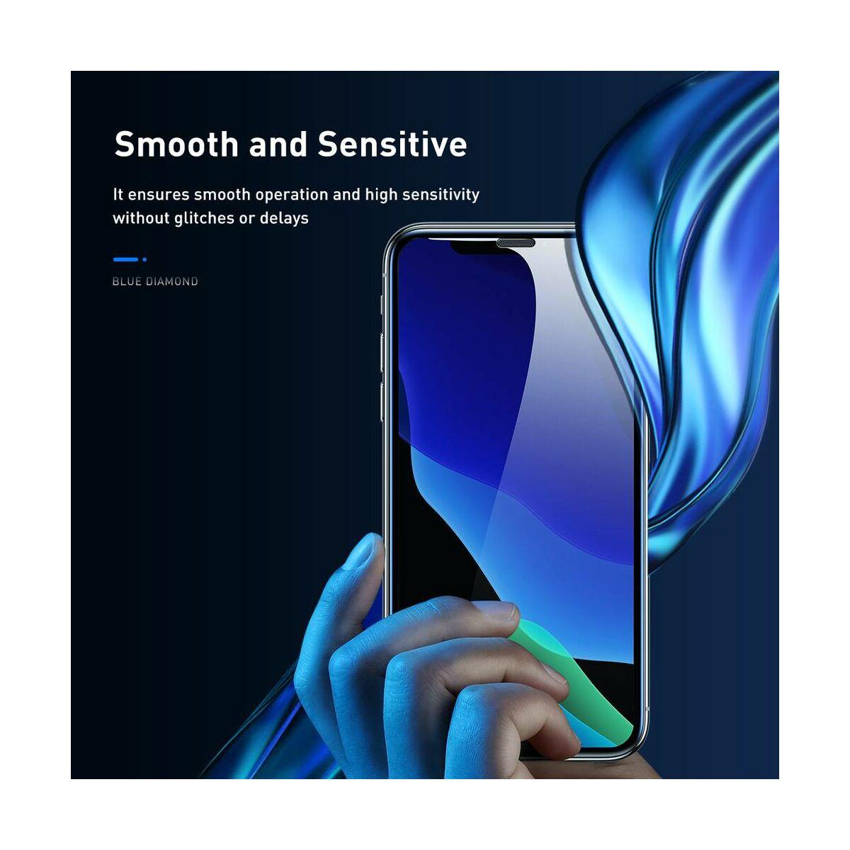 """Baseus iPhone XS Max (6.5"""") 0.23 mm, teljes felületre, ívelt szélek, por elleni védelem, edzett üveg, fekete (SGAPIPH65-WD01)"""
