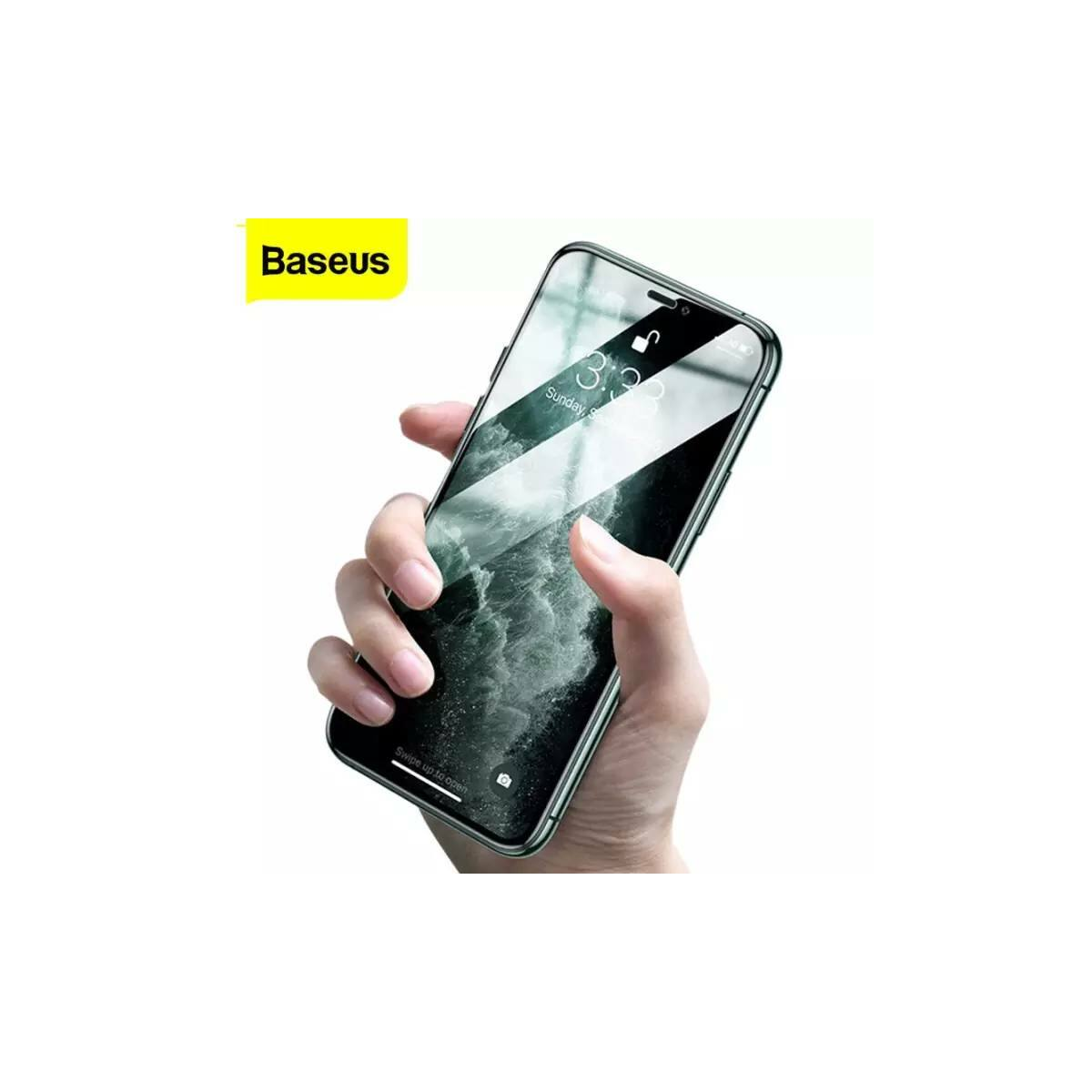 Baseus iPhone 11 Pro Max 0.3mm, teljes felületre, lekerekített, ívelt edzett üveg, szem kímélő felület (2db+keret), fekete (SGAPIPH65S-IA01)