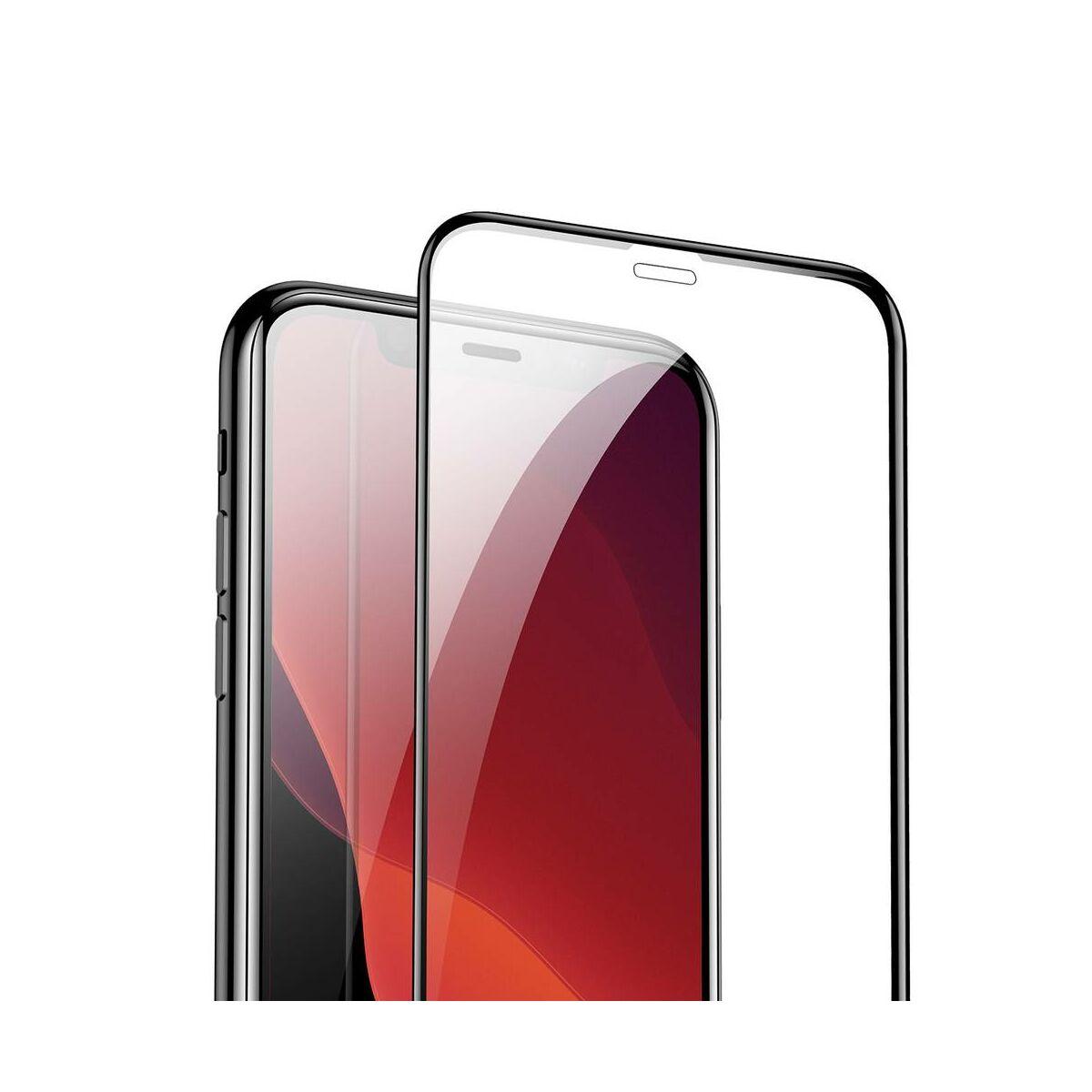"""Baseus iPhone 11 Pro Max (6.5"""") 0.3 mm, teljes felületre, (2db a csomagban) edzett üveg, fekete (SGAPIPH65S-KC01)"""