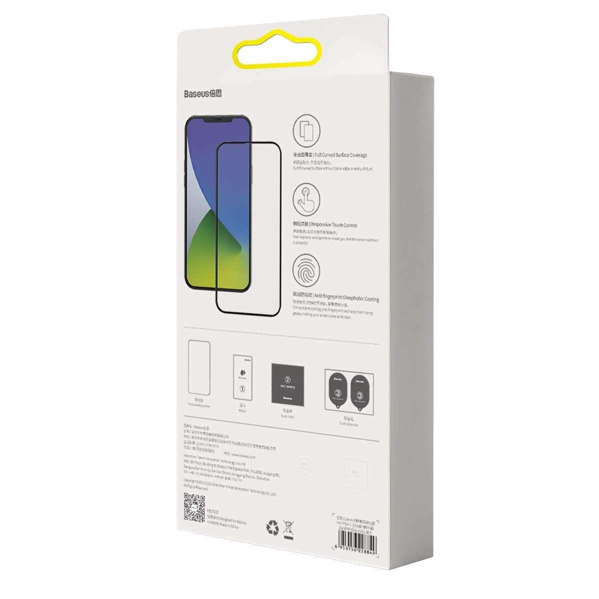 Baseus iPhone 12 Pro Max 0.3 mm, teljes felületre, lekerekített edzett üveg (2 db), fekete (SGAPIPH67N-KA01)