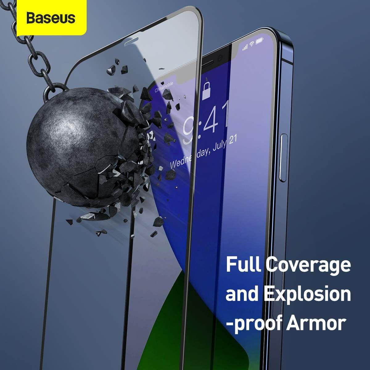 Baseus iPhone 12 Pro Max 0.3 mm, teljes felületre, lerekített edzett üveg, kékfény szűrős (2db), fekete (SGAPIPH67N-KB01)